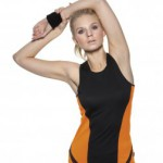 black & orange sports vest suitable for gym workouts