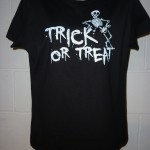 P1000291 Halloween T-Shirt printing. Designs printed on a spooky black base T