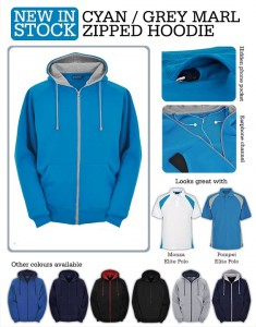 CyanCyan & Grey Marl Zoodie: deluxe zipper hoodie. Great for Cumbria's climate!