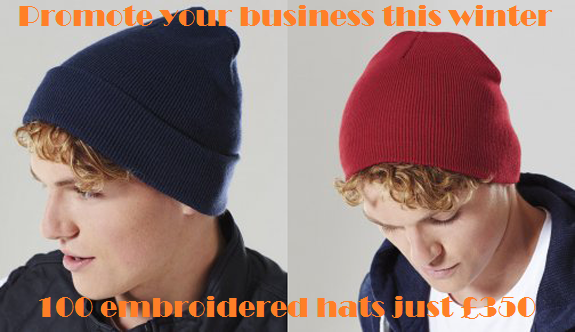 beanie hat offer: Create stylish embroidered beanies for your staff to keep them warm.