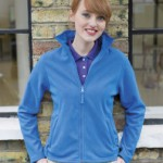 Henbury H851 lady fit zipped micro fleece powder blue