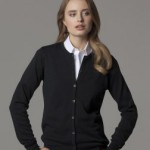 K355 cardigan. Quality knitwear in black worn by professional lady.
