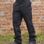 Black LC205 Cargo pants: multi pocketed, rugged workwear trousers