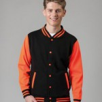 JH044 college jacket in orange and black as an alternative to the leavers hoodie