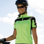 The SR188F ladies cycling jersey in lime green. Easily customised for any event.