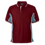 Toscana polo shirt colourway with claret body & light blue side panels set off with white and gold trim.