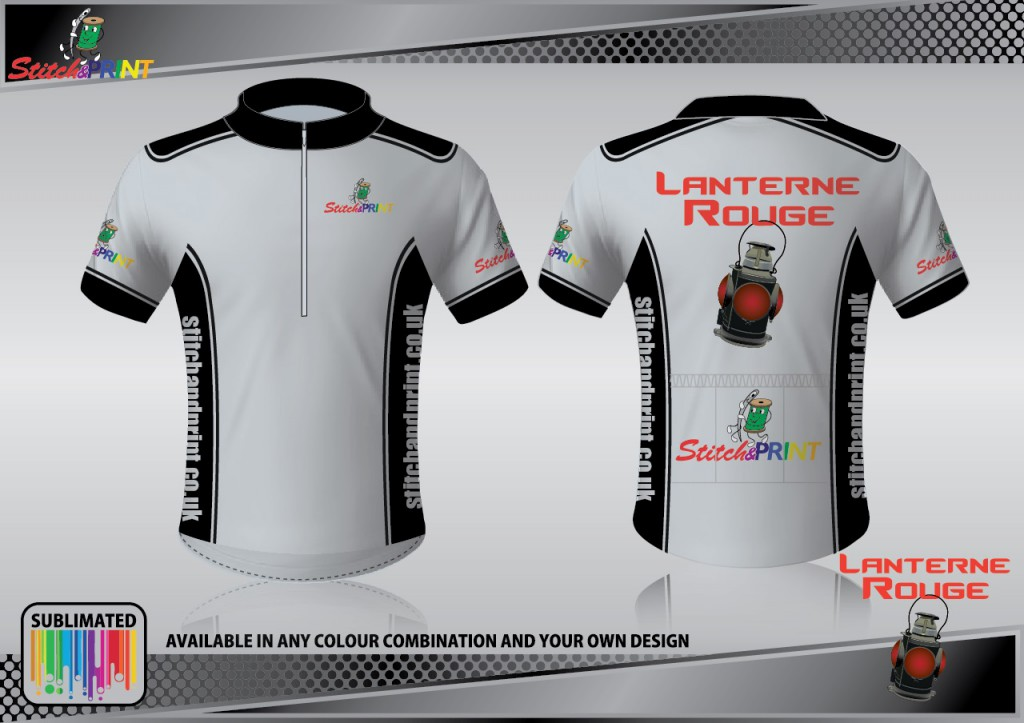 Lanterne Rouge- custom cycling jersey for S&P's own team customised & printed in house on sublimation dye printer.