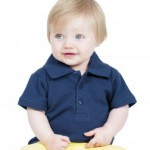 Toddler polo shirt suitable for the tiniest nursery child's easily maintained uniform.