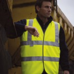 hi-vis vest. Safety workwear for staff who need quick on and quick off visibiity at work.