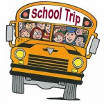 Schooltrip bus and no kids wearing hoodies in this old fashioned clipart